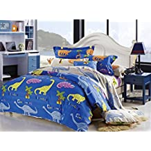 Cliab Dinosaur Bedding Twin 100% Cotton Duvet Cover Set 5 Pieces