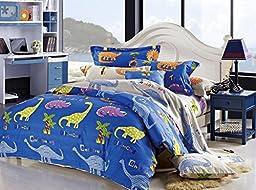 Cliab Dinosaur Bedding Queen Kids Bedding Queen Size 100% Cotton Duvet Cover Set 5 Pieces