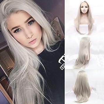 Xiweiya Cheveux longs Argent Blond platine