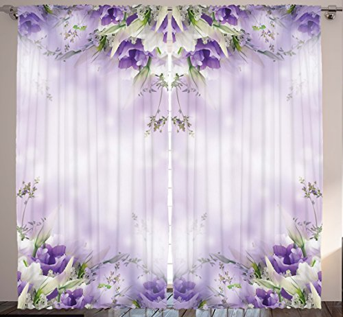 Romantic floral print curtains amazon floral curtains purple decor by ambesonne romantic flowers floral art print chic garden park cafe modern home bedroom living room curtain 2 panels set mightylinksfo