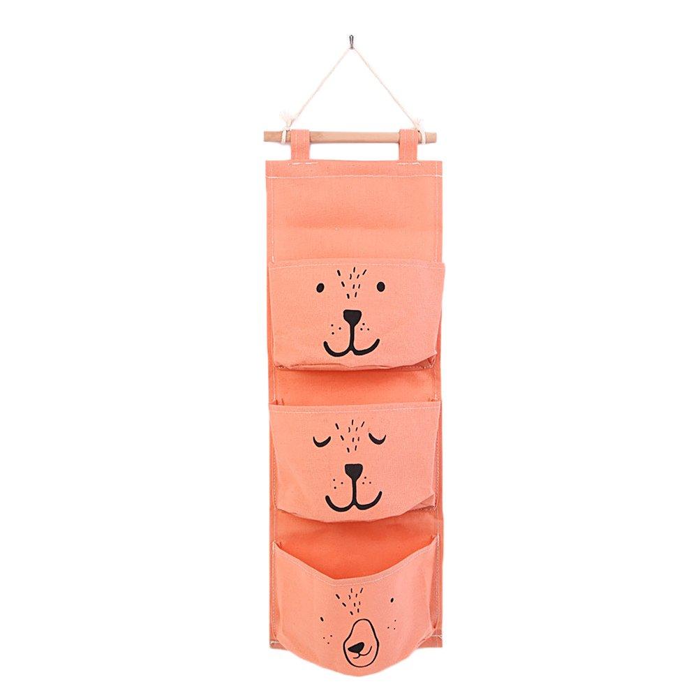 Gosear Cotton Linen 3 Pockets Decorative Organizer Wall Door Pouch Holder Closet Hanging Storage Bag Case Green