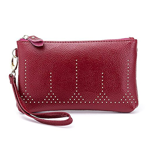 Capacity Long Wallet Strap with Purse Credit Genuine Organizer Ladies Card Clutch Large with Leather Women's Bag Zipper Elegant Purple Coin Wrist DcSpring z4wxv7qv