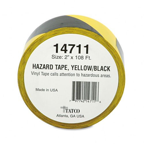 Tatco : Hazard Marking Aisle Tape, 2w x108 ft. Roll -:- Sold as 2 Packs of - 1 - / - Total of 2 Each (Tatco Marking Hazard Tape)