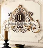 Cheap Lavish Gold IRON SCROLL MONOGRAM Initial Letter Wall Plaque Overdoor Palace