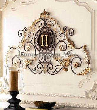 Amazon.com: Lavish Gold IRON SCROLL MONOGRAM Initial Letter Wall Plaque  Overdoor Palace: Home U0026 Kitchen