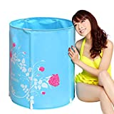 Bathtubs Freestanding Folding Inflatable Bath tub Household Bath tub Children's Adult Thick Plastic Bath tub Free Inflatable (Color : Blue, Size : 6570cm)