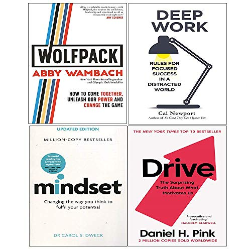 Wolfpack (Hardcover), Deep Work, Mindset, Drive Daniel Pink 4 Books Collection Set
