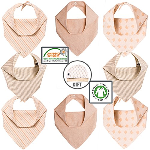 Chic Baby Bandana Bib. Unisex Drool Baby Bibs for Boys & Girls. Keep your Baby Dry & Happy. Soft, Absorbent, Hypoallergenic 100% Organic Cotton (GOTS Certified). 8 Pack, Free Cute Baby Hat & Gift Box.