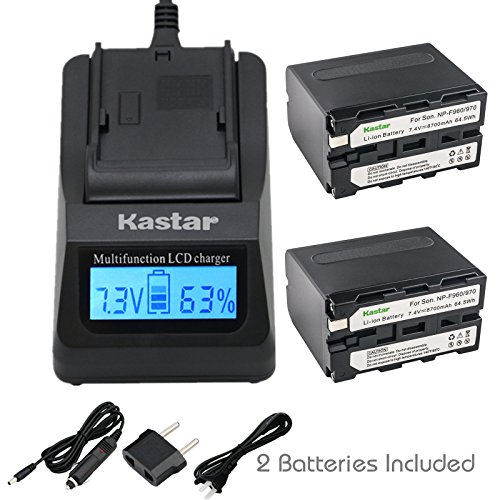 Kastar LCD Fast Charger & Battery X2 Replacement for NP-F970 NP-F960 NP-F950 and DCR-VX2100 DSR-PD150 DSR-PD170 FDR-AX1 HDR-AX2000 HDR-FX1 HDR-FX7 HDR-FX1000 HVL-LBPB HVR-HD1000U HVR-V1U HVR-Z1P