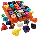 Toys Games Best Deals - Peg board Shapes Puzzle 38pc Occupational Therapy Montessori Toddler Toy. Preschool Games Fine Motor Skills Stacking Counting & Learning By Skoolzy