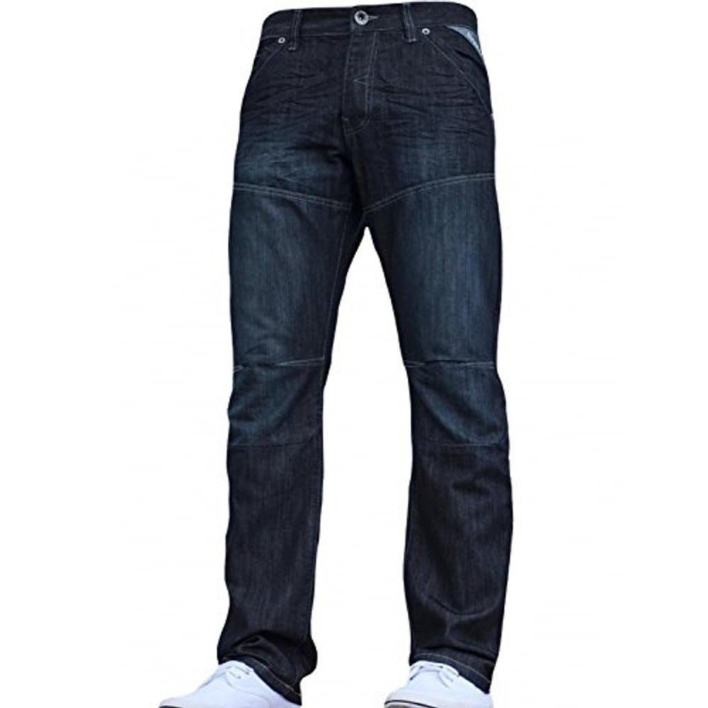 Mens Designer Enzo EZ243 EZ244 Jeans Light Dark Blue Black Grey Straight Leg