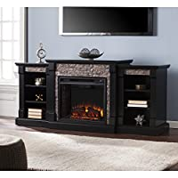 Southern Enterprises Ganyan Faux Stone Electric Fireplace with Bookcase, Black Finish