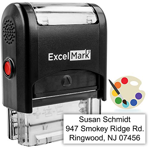Custom Self-Inking Stamp - Up to 3 Lines - 11 Color Choices and 18 Font ()