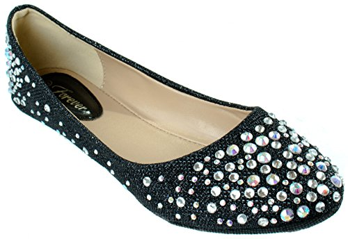 Forever Zapatos Mujeres Larisa-39 Múltiples Pisos Decorativos De Diamantes De Imitación Black