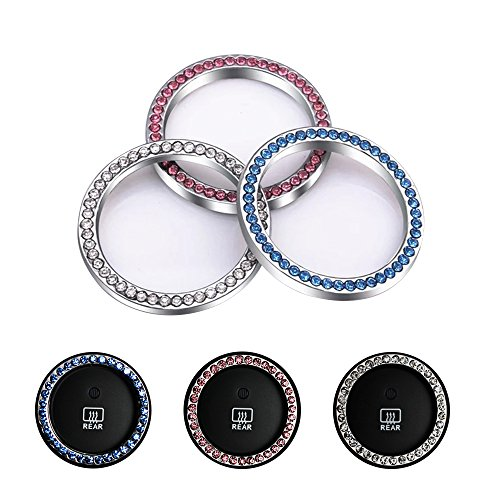 Crystal Rhinestone Car Sticker Ring Emblem  Auto Start Engine Ignition Key Unique Luxury Gift For Her 2 Pack  Pink