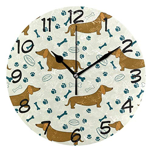 LORVIES Cartoon Dog Dachshunds Pattern Wall Clock Silent Non Ticking Acrylic Decorative 10 Inch Round Clock for Home Office ()