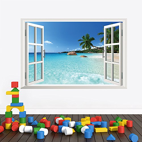 U-Shark 3D Large Removable Sea Beach Vinyl Wall Decal Sticker for Dining Room, Bedroom,Window (SeaView) by U-Shark (Image #1)