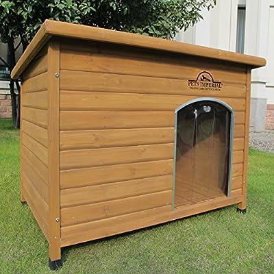 Perrera extragrande de Pets Imperial®, con aislado, de madera, con rieles de apoyo y suelo extraíble para fácil limpieza