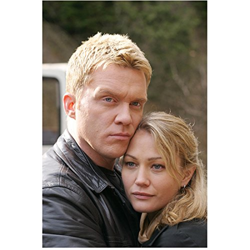 The Dead Zone 8 inch x 10 inch PHOTOGRAPH Anthony Michael Hall Black Leather Jacket Hugging Female Blonde Character in Black Top Close Up D ()