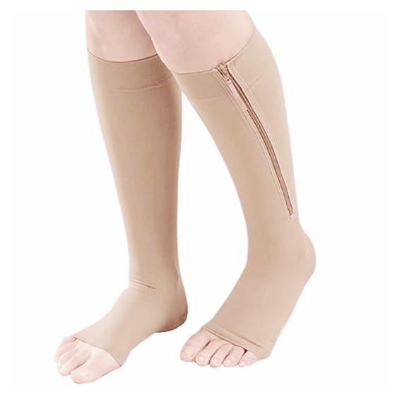 Medias - SODIAL(R)Calcetines para aumentar la circulacion y compresion de rodilla medias de pata de apoyo Beige M: Amazon.es: Ropa y accesorios