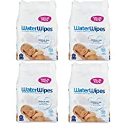 WaterWipes Sensitive Baby Wipes, Natural & Chemical-Free, 4 packs of 60 Count (240 Wipes) (4-Pack)