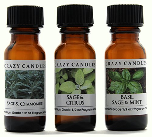 Crazy Candles 3 Bottles Set, 1 Sage & Chamomile, 1 Sage & Citrus, 1 Basil Sage & Mint 1/2 Fl Oz Each (15ml) Premium Grade Scented Fragrance Oils By