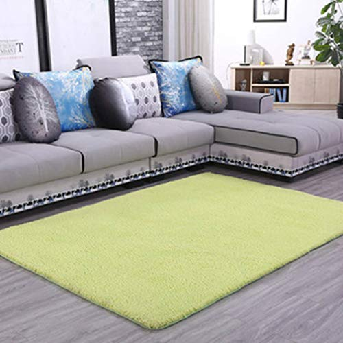 Solid Rectangular Area Rugs Soft Shag Living Room Children Bedroom Rug Anti-Slip Plush Carpets Home Decor Modern Indoor Outdoor Runners Nursery Green 4' X 9'