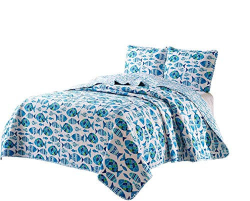 (Seaside Resort Beach-Themed 3pc Quilt Set, Full/Queen, Welcome Cove (Blue/White),)