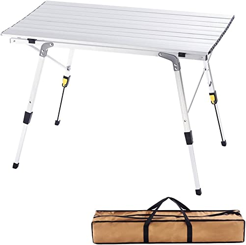 CampLand Aluminum Table Height Adjustable Folding Table Camping Outdoor Lightweight for Camping, Beach, Backyards, BBQ, Party