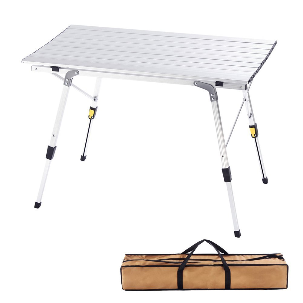 CampLand Aluminum Height Adjustable Folding Table Camping Outdoor Lightweight for Camping, Beach, Backyards, BBQ , Party and Picnic