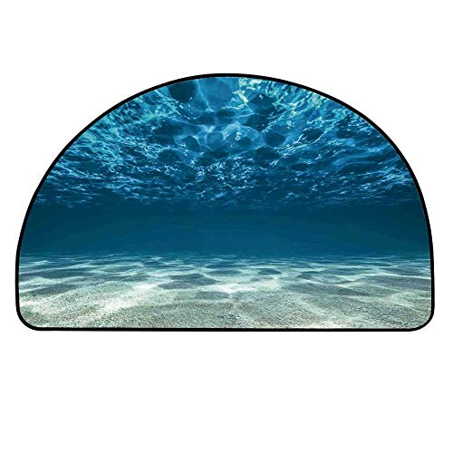 YOLIYANA Ocean Decor Doormat,Bright Gravelly Bottom and Wavy Surface Tropical Seascape Abyss Underwater Sunny Day Entryway Mat,33.4