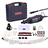 GOXAWEE Rotary Tool Kit - 140pcs Accessories and Attachments, Variable Speed Mini Die Grinder Electric Drill Set with Keyless Chuck, Flex Shaft for Home Improvement, Woodworking and DIY Creations