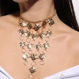 Simsly Retro Rose Necklace with Annulus, Fashion