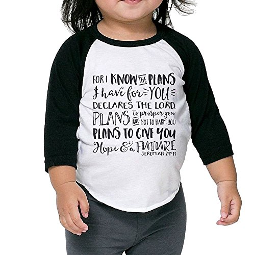 WQ UNIQUE Boys I Know The Plans I Have For You Jeremiah Basic Crew Neck 3/4 Sleeve Baseball Tee Shirts Youth Slim Fit