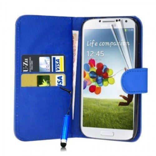 Samsung Galaxy S4 Cubierta del caso con cuero (Azul) Plus de regalo libre, Protector de pantalla y un lápiz óptico, Solicitar ahora mejor caja del teléfono Valorado en Amazon! By FinestPhoneCases