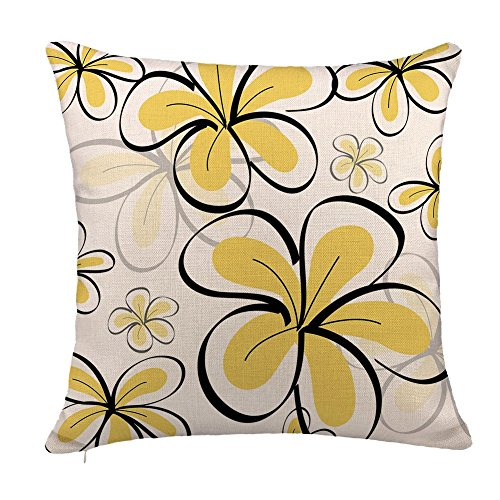 4TH Emotion Yellow Doodle Floral Throw Pillow Case Cushion Cover Summer Home Decor Cotton Linen 18 x 18 Inch