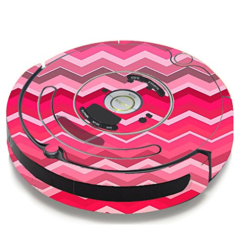 Skin Decal Vinyl Wrap For IRobot Roomba 650 655 Vacuum / Red Pink Chevron