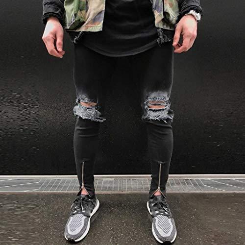 Stile Jeans Nero Fray Lanceyy Stretch Denim Used Effetto Semplice Con Uomo Pantaloni Skinny Slim Zip Vintage Strappati YYxFqfa