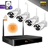 [Beter Than 960p] CORSEE Auto-Pair 4CH Full 1080P HD Wireless Security System,4 x 2.0 MP Wifi Security Cameras 1TB Hard Drive Pre-installed (Clear Night Vision,Fast view by Smart phone)