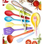 11pc Silicone Kitchen Utensil Set by CuisineFacets Colorful Cooking Utensils with Spatula, Serving Tools, Accessories and FREE Spoon Rest - Heat Resistant Spatulas and Spoons for Non-Stick Cookware 18 ✅11PC incl. FREE SPOON REST: Imagine how many colorful food creations you can now unleash all at once, because your utensil set includes everything! Silicone Wisk, Pastry Brush, 2x Spatulas, Slotted Spoon, Salad Spoon, Food Tong, All-Purpose Spoon, large Ladle, Slotted Turner, and BONUS Spoon Rest. ✅HEAT RESISTANT & EASY TO CLEAN: From the Rainbow Whisk to the Pink Pastry Brush, just pop your silicone kitchen utensils in the dishwasher to clean. Everything is made from FDA Compliant Food Grade Silicone and can withstand temperatures up to 446°F... like steaming hot pasta, pumpkin soup or pancakes. ✅WHAT'S YOUR FAVE? If you're like most people, there are always 1 or 2 kitchen tools you love the most. And if you're like us, it could even be because of color. Either way, our Cheery Utensils Set from CuisineFacets gives you the best of both - your favorite non-stick kitchen utensils, in your favorite colors too.