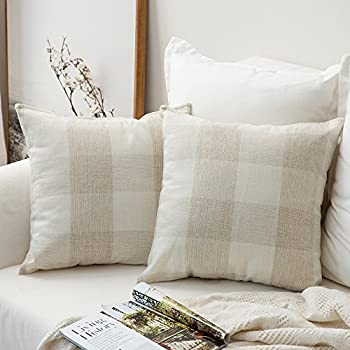 MIULEE Pack of 2 Christmas Classic Retro Checkers Plaids Cotton Linen Soft Solid Cream White Decorative Throw Pillow Covers Home Decor Cushion Case for Sofa Bedroom Car 16 x 16 Inch 40 x 40 cm