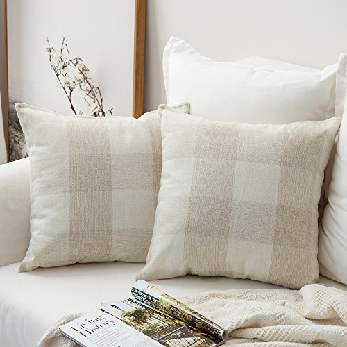 MIULEE Pack of 2 Classic Retro Checkers Plaids Cotton Linen