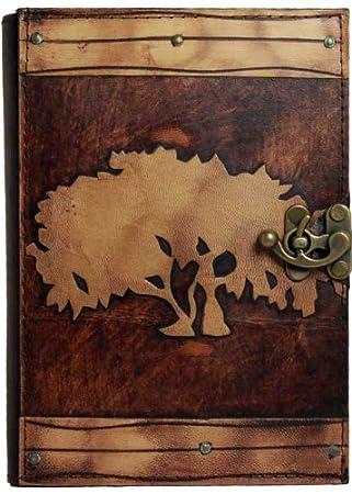 Decoración árbol de la vida en relieve en una agenda de piel ...