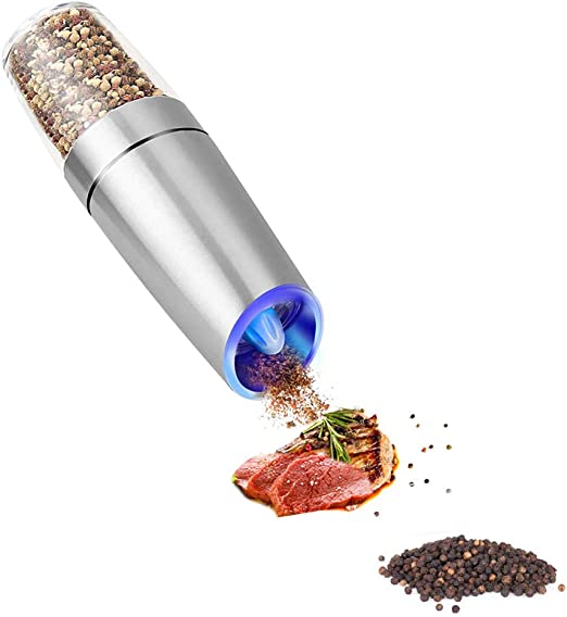 silver Adjustable Ceramic Coarseness Electric Pepper Grinder or Salt Mill Spice Tall Power Shaker Gravity Control Battery Powered With Blue LED Light