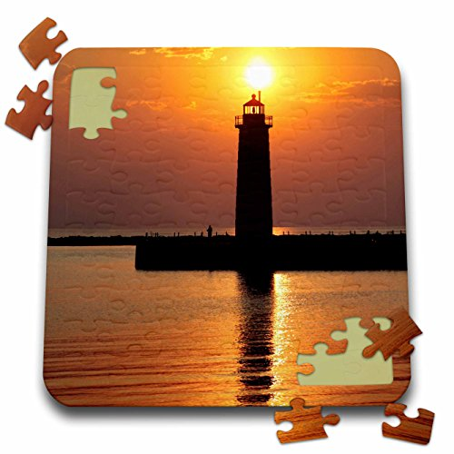 (Danita Delimont - Lighthouses - MI, Muskegon. Lighthouse on Lake Michigan - US23 RER0002 - Ric Ergenbright - 10x10 Inch Puzzle (pzl_91212_2))
