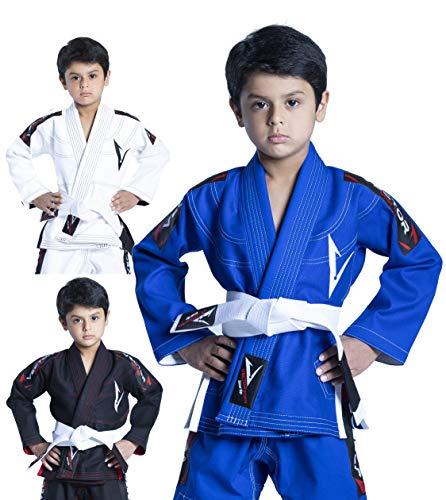 Vector Sports 100% Cotton Pearl Weave Kids Brazillian Jiu Jitsu BJJ Gi Attila Series Kimono Lightweight Preshrunk Fabric with Free White Belt (Blue, K3)