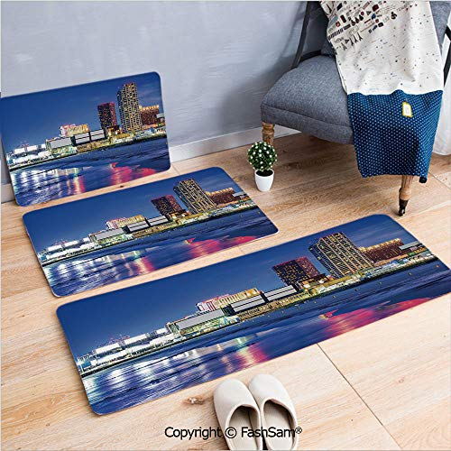 3 Piece Non Slip Flannel Door Mat Resort Casinos on Shore at Night Atlantic City New Jersey United States Indoor Carpet for Bath Kitchen(W15.7xL23.6 by W19.6xL31.5 by W35.4xL62.9)