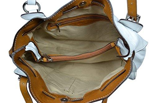 Schöne praktische Leder Weiße Handtasche aus Leder Maria Bianca Camel über die Schulter