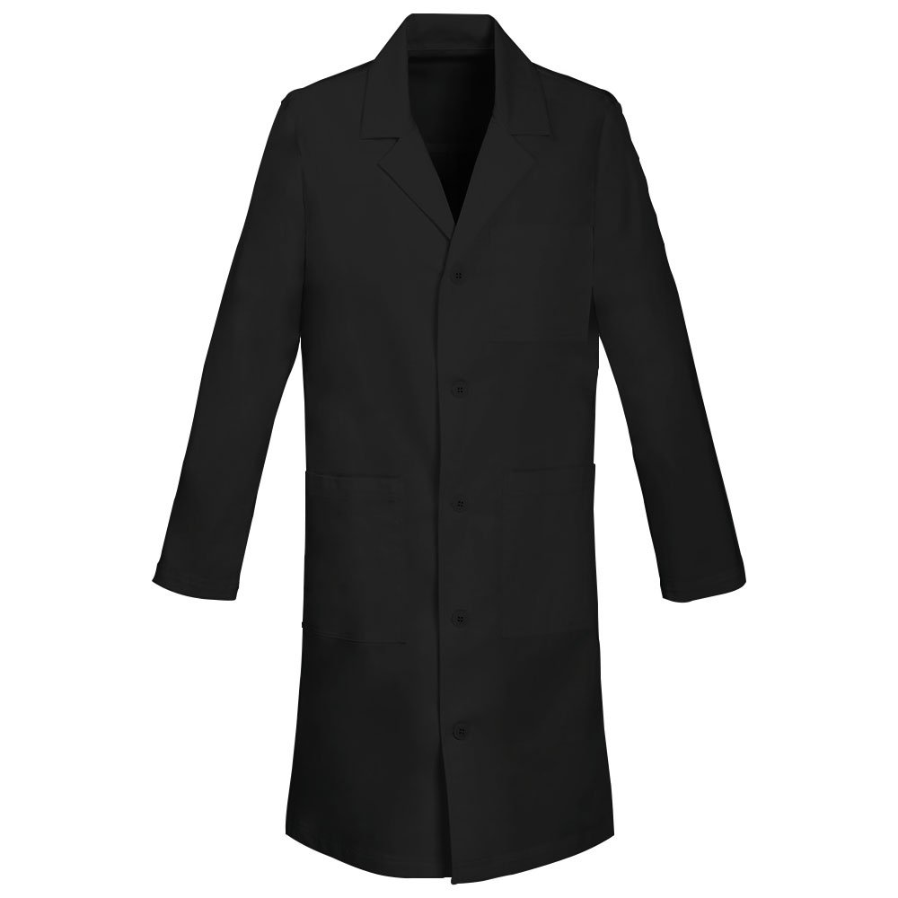 Panda Uniform Made to Order 40-Inch Unisex Notched Lapel 5 Button Full Sleeves Neckline Long Lab Coat-Black-S