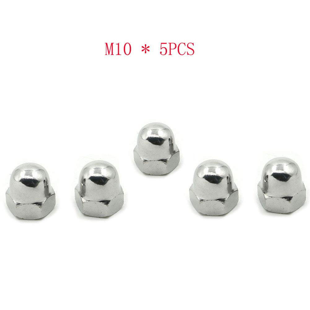 Alpha Rider 5PCS M10 Dome Acorn Cap Cover Nut 10mm x 1.25 Thread Pitch Wrench Size 16mm For Honda